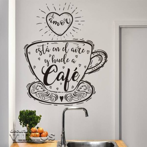 Vinilos Decorativos - El amor huele a cafe