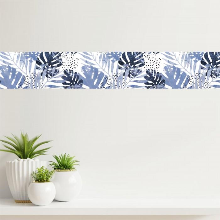 Cenefa - Hojas tropicales azules