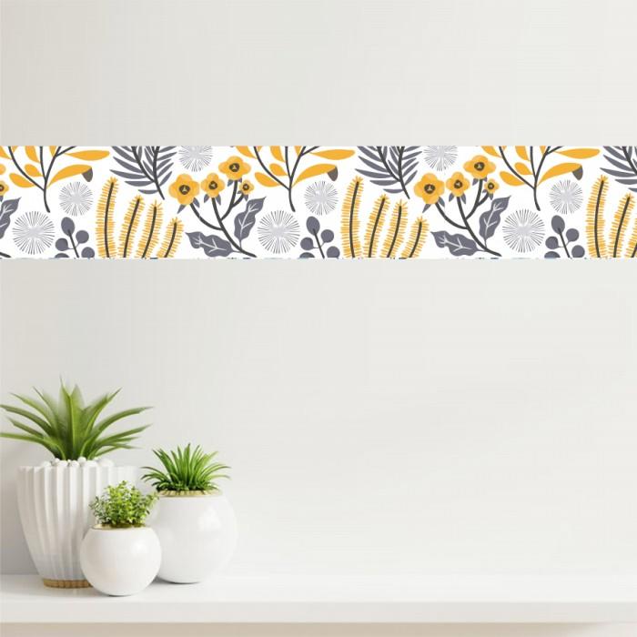 Cenefa - Flores amarillas y grises