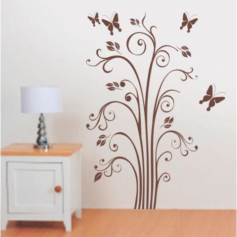 Vinilos Decorativos - Planta con mariposas