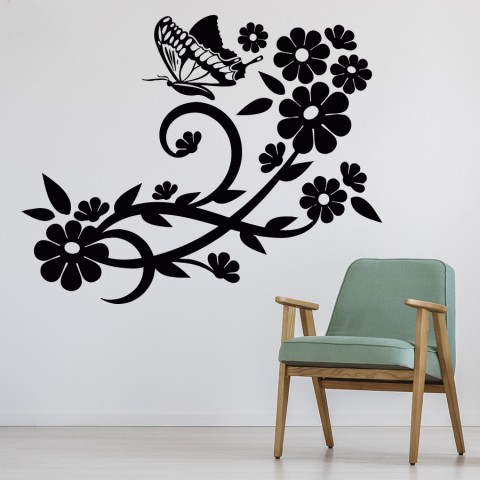 Vinilos Decorativos - Flor y mariposa 4
