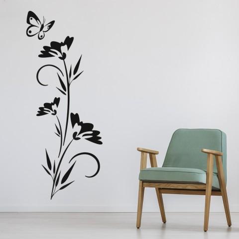 Vinilos Decorativos - Flor y mariposa 3