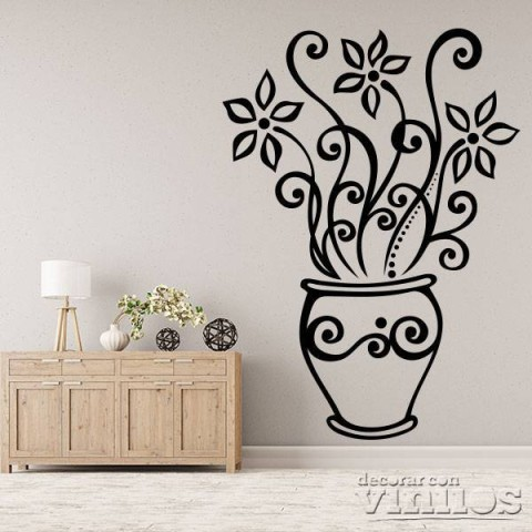 Vinilos Decorativos - Flor en maceta