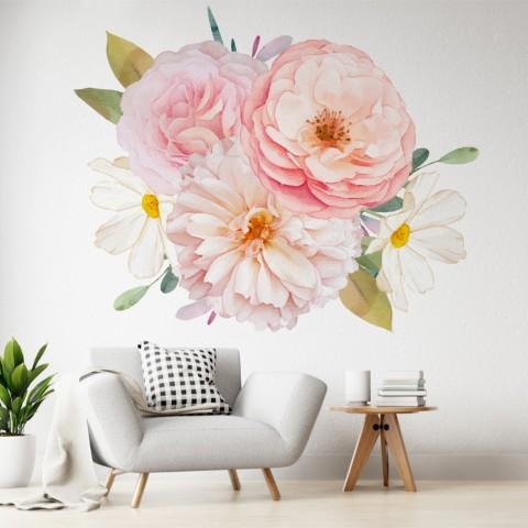 Vinilos Decorativos - Rosas rosadas y dalias