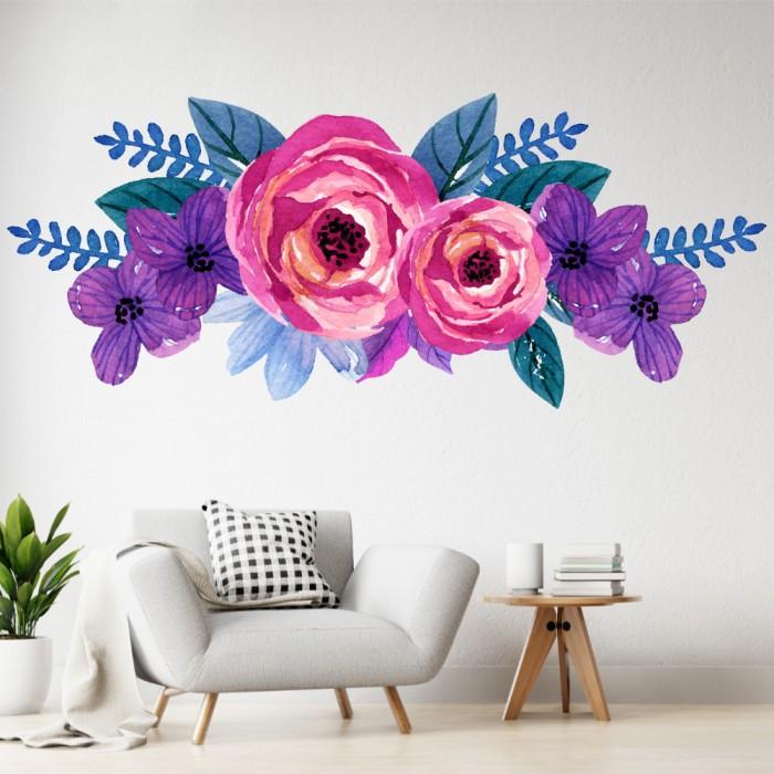 Vinilos Decorativos - Flores coloridas, violetas y rosas