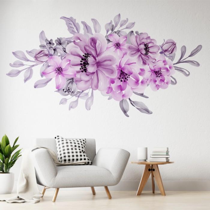 Vinilos Decorativos - Flores violetas pastel