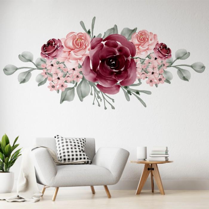 Vinilos Decorativos - Flores rosas y burdeos