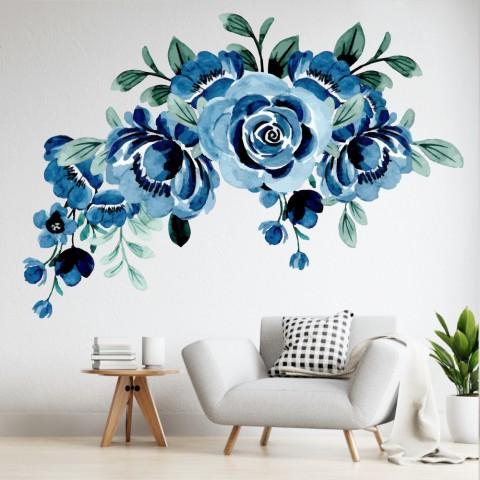 Vinilos Decorativos - Flores rosas azules