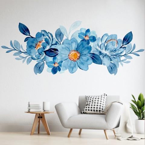 Vinilos Decorativos - Flores celestes y azules