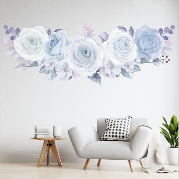 Vinilos Decorativos - Rosas blancas y celestes