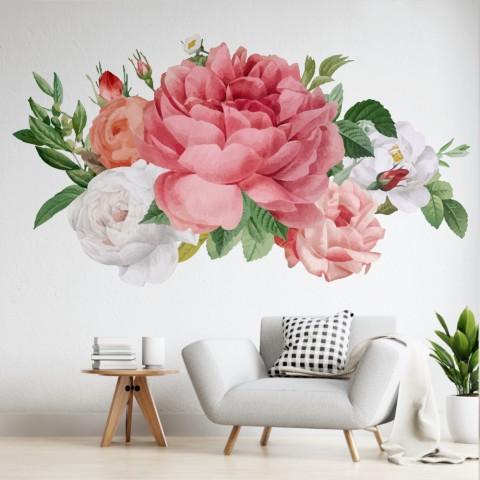 Vinilos Decorativos - Rosas blancas y rosas