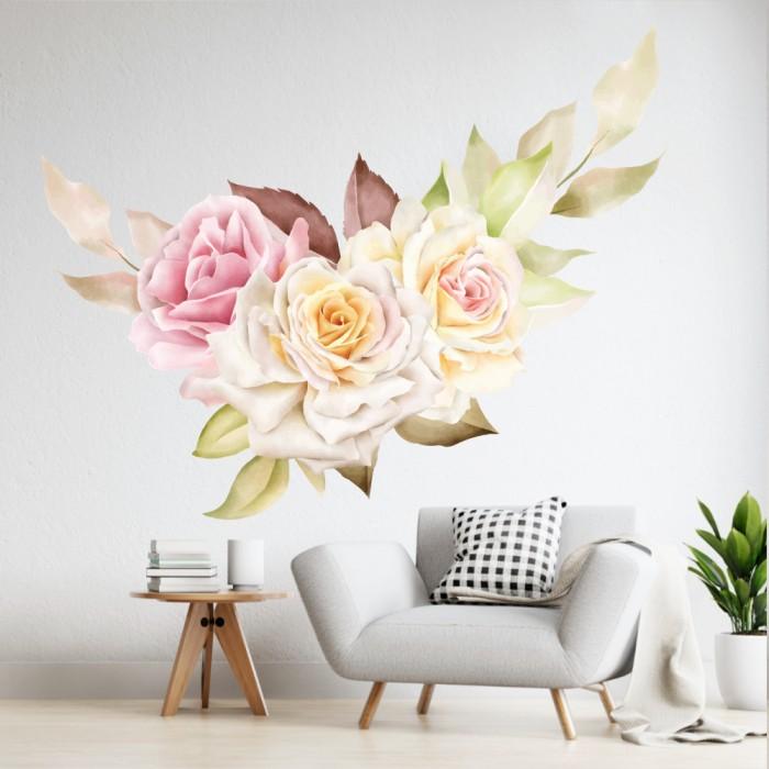 Vinilos Decorativos - Rosas blancas y rosa