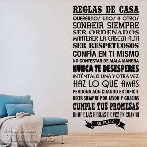 Vinilos de Frases - Reglas de casa