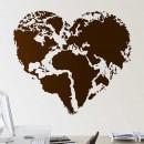 Vinilos Decorativos - Mapamundi con forma a corazón
