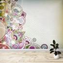 Fotomural - Flores abtractas rosas y verdes