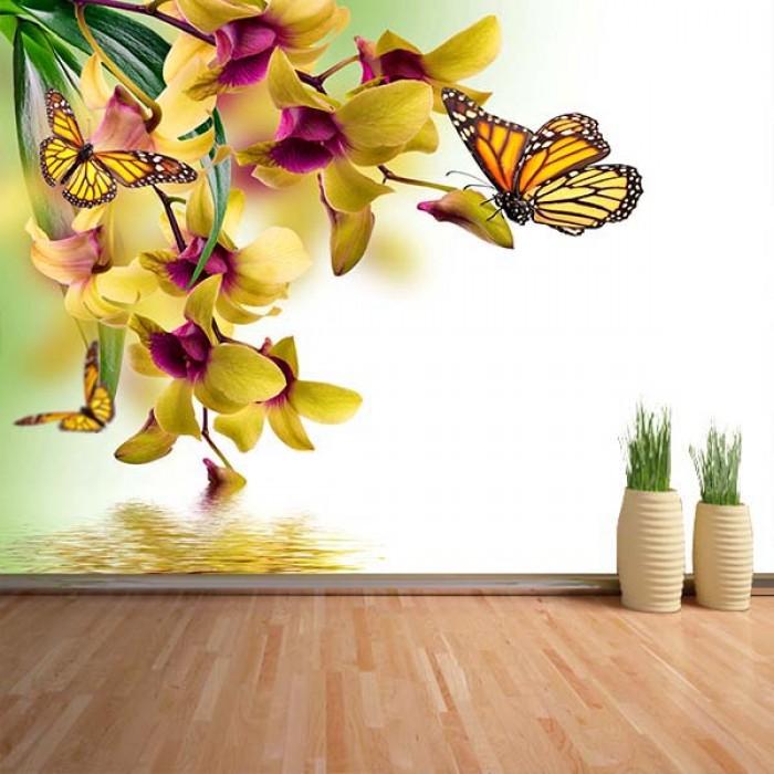 Fotomural - Flores y mariposas