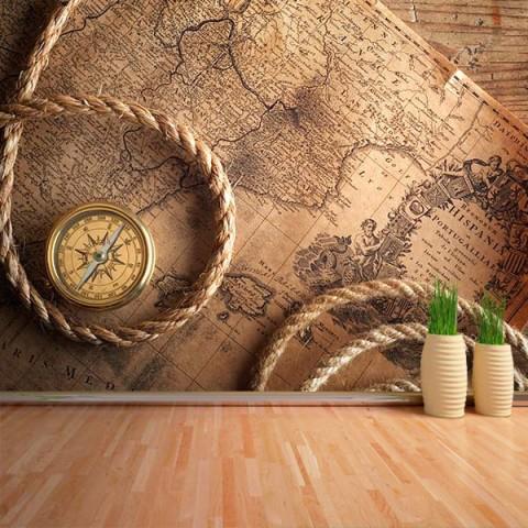 Fotomural - Mapa y brujula