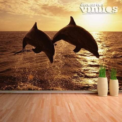 Fotomural - Delfines al atardecer