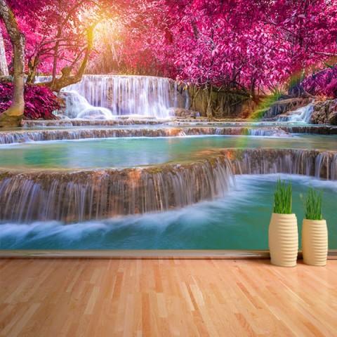Fotomural - Cascada en bosque rosa