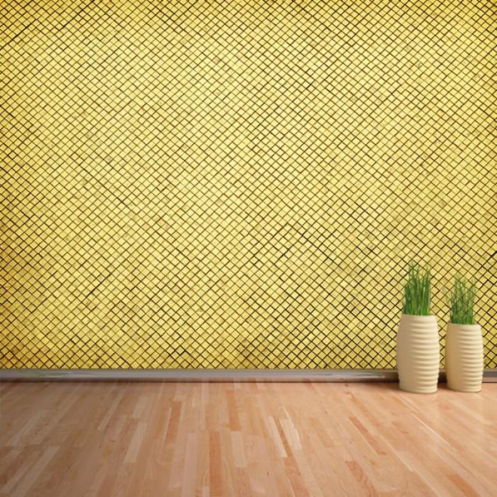 Fotomural - Pared rombos dorados