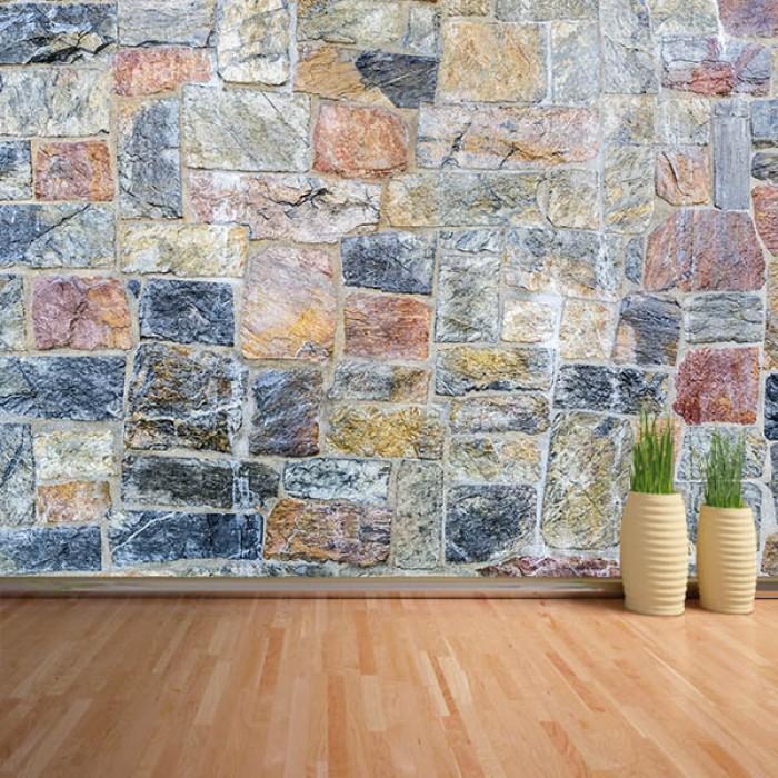 Fotomural - Pared piedra de colores
