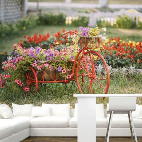 Fotomural - Bicicleta con flores
