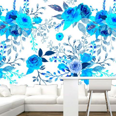 Fotomural - Flores Azules Patron 2