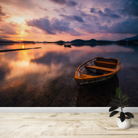 Fotomural - Lago con bote