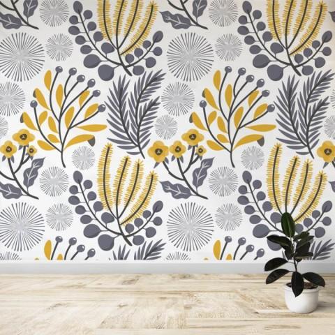Mural - Flores gris amarillo