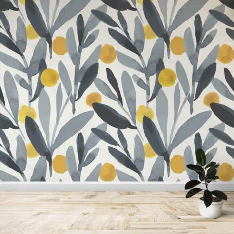 Mural - Flores amarillo gris