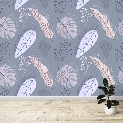Mural - Tropical Gris y lila
