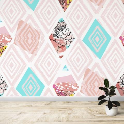Mural - Rombos rosas
