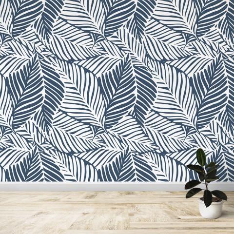 Mural - Líneas hojas azules