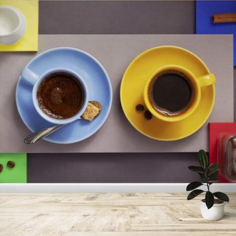 Fotomural - Tazas de cafe y chocolate
