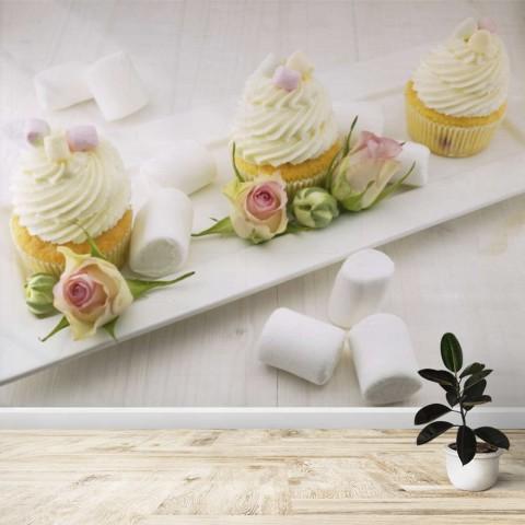 Fotomural - Cupcakes con rosas