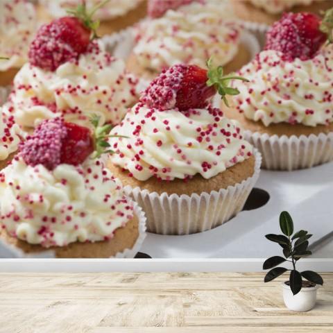 Fotomural - Cupcakes con fresas
