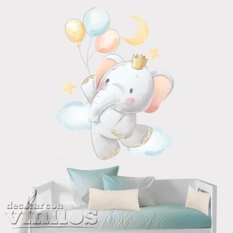 Vinilo Intantil Elefante con globos