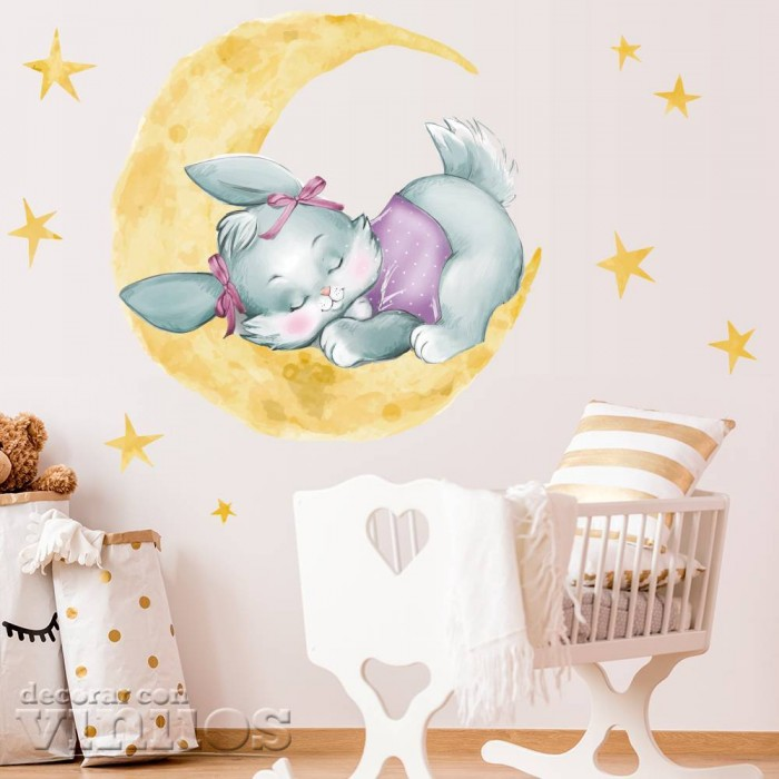 Vinilo decorativo Conejito durmiendo en una luna