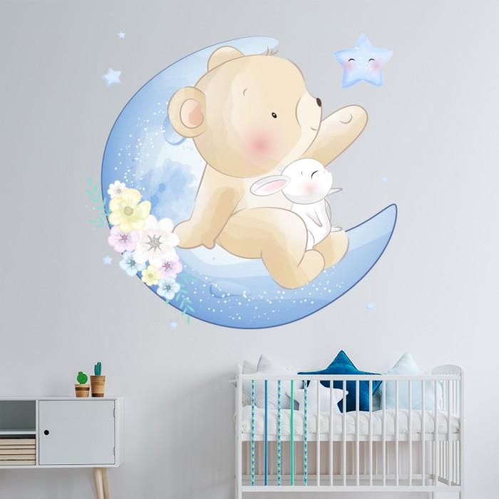 Vinilo decorativo infantil Osito y conejo en luna