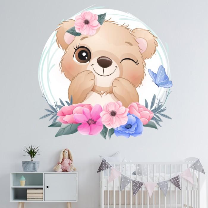 Vinilo decorativo infantil Osita con flores