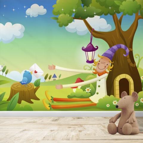 Fotomural Infantil - Duende bajo el arbol