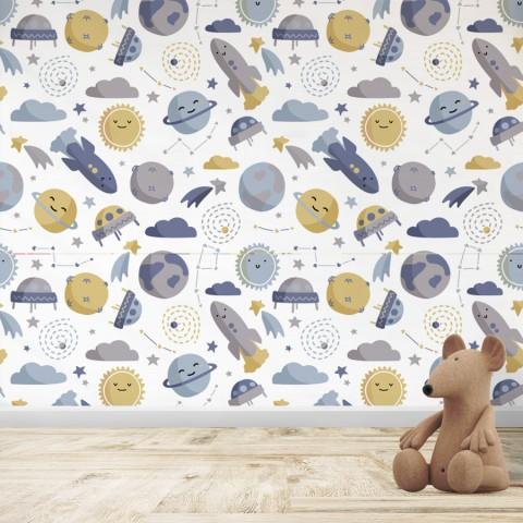 Mural Infantil - Patrón planetas