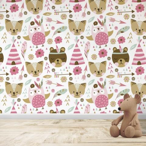 Mural Infantil - Patrón Tribu Rosa