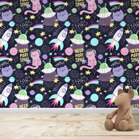 Mural Infantil - Patrón Gato espacial