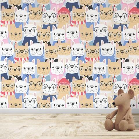 Mural Infantil - Patrón Perro bulldog