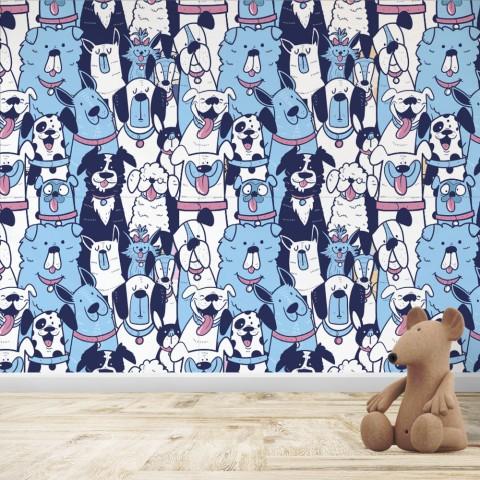 Mural Infantil - Patrón Perros Azul