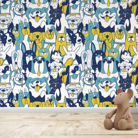 Mural Infantil - Patrón Perros Amarillo