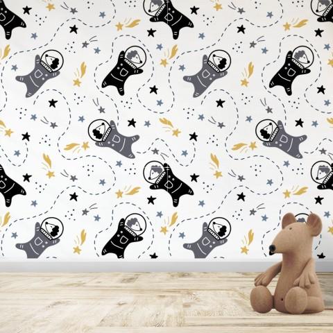 Mural Infantil - Patrón Perro espacial