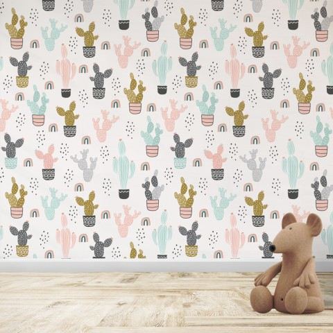 Mural Infantil - Patrón Cactus