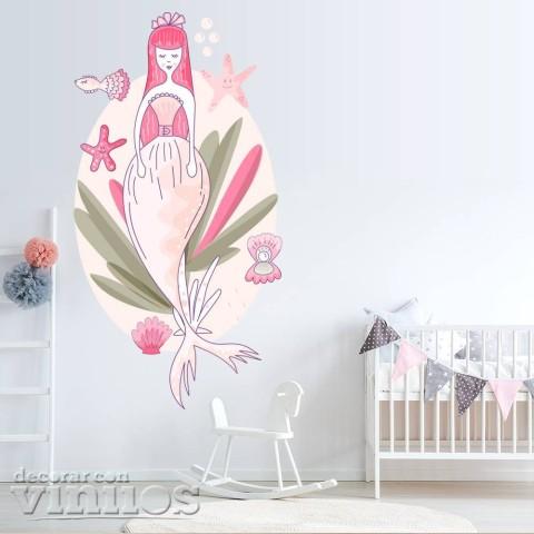 Vinilos Decorativos - Sirena rosa
